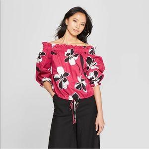 Women's off the shoulder floral loose blouse